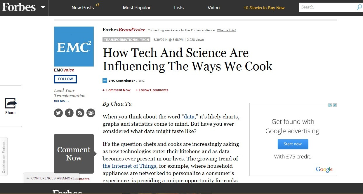 Forbes: How Tech And Science Are Influencing The Ways We Cook