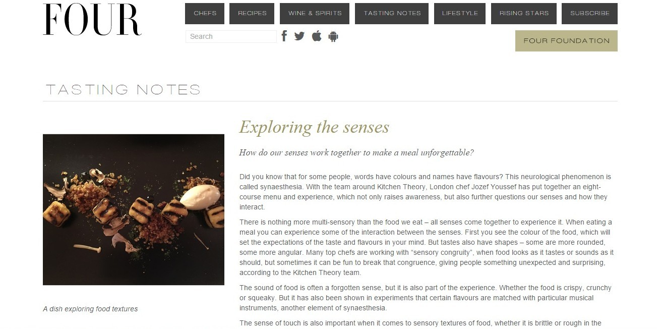 FOUR Magazine – TASTING NOTES – Exploring The Senses