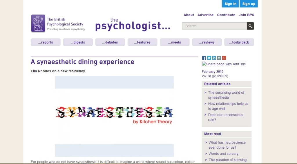 the psychologist - a synaesthetic dining experience
