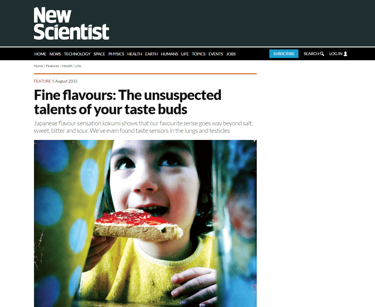 New Scientist – Fine Flavours: The Unsuspected Talents Of Your Taste Buds