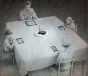 Family dining food replaced by technology